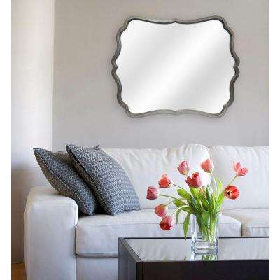 Crest 30 in. H x 24 in. W Framed Mirror in Pewter