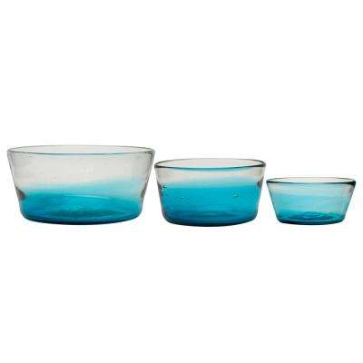 Chico Assorted-Size Glass Dog Bowl in Blue (Set of 3)