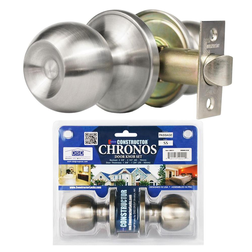Constructor Stainless Steel Finish Passage Door Knob Set