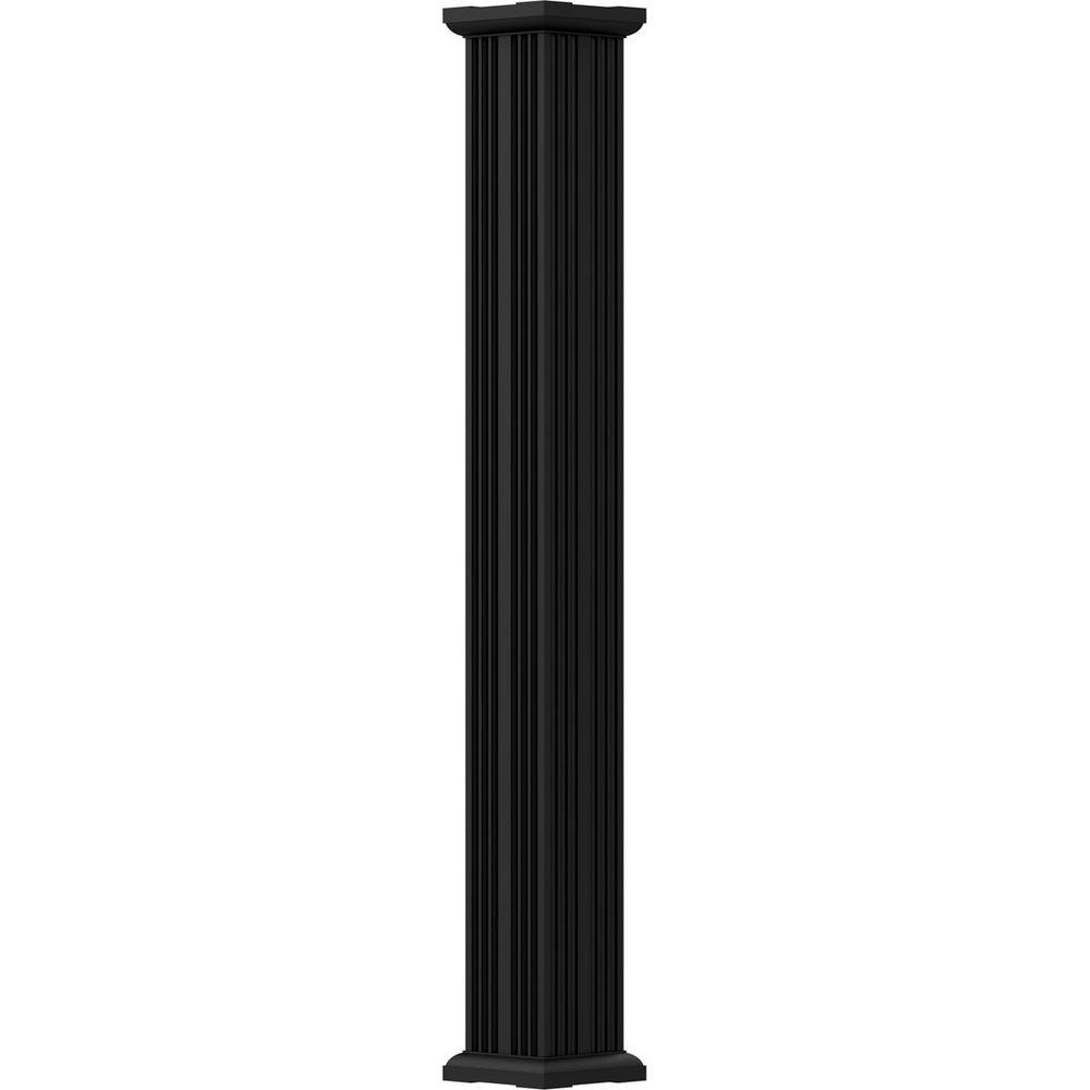 12 in. x 8 ft. Textured Black Non-Tapered Fluted Square Shaft