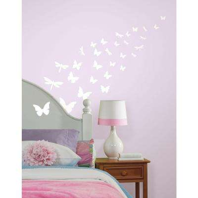 10 in. x 18 in. Butterfly and Dragonfly Glow in the Dark 80-Piece Wall Decal