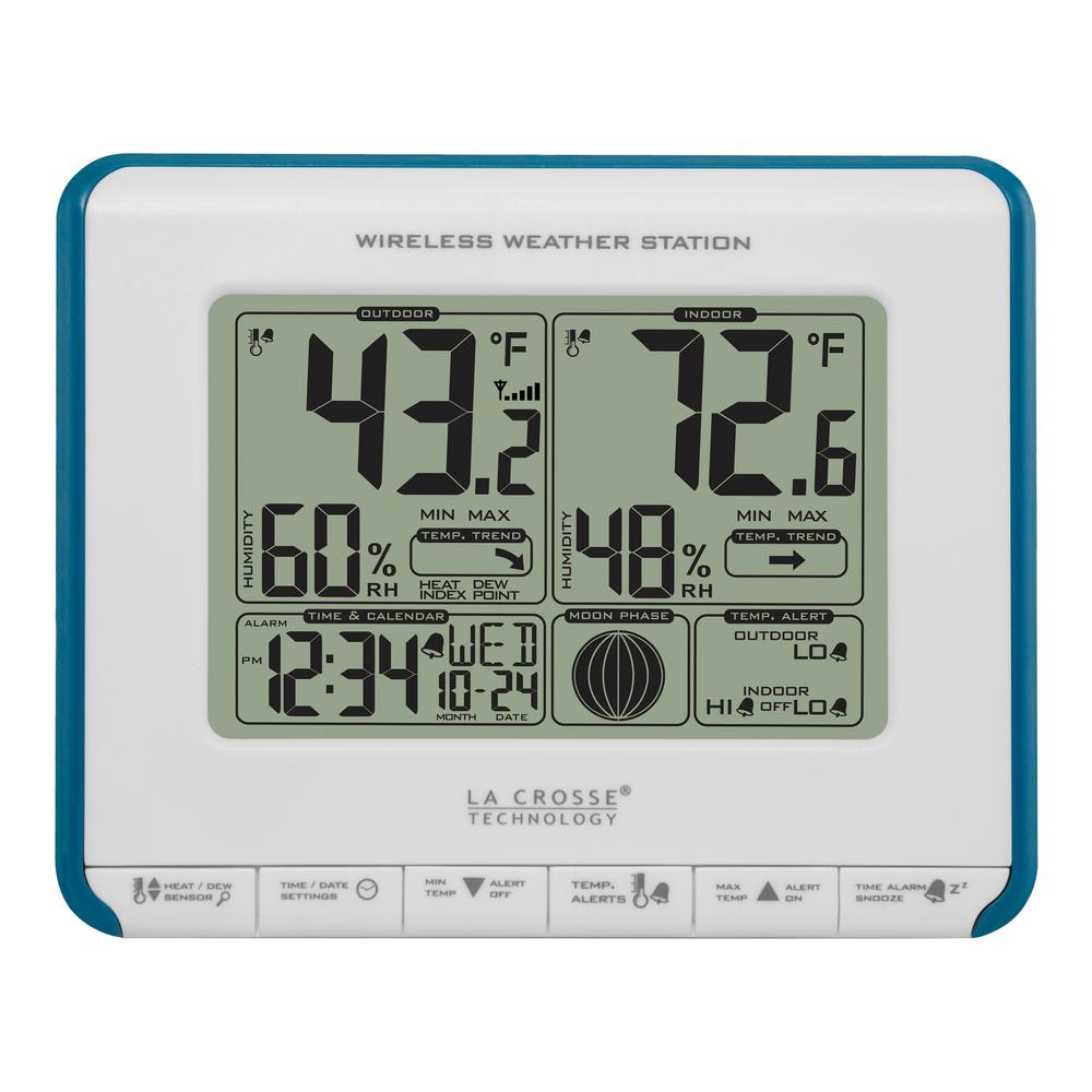 La Crosse Technology Wireless Weather Station with Heat Index and Dew Point Track temperature trends and set HI/LO alerts by monitoring with your own wireless weather station. Display features heat index and dew point. Manual set time with added snooze. Includes weather resistant outdoor sensor. Requires 4 AA batteries (not included).