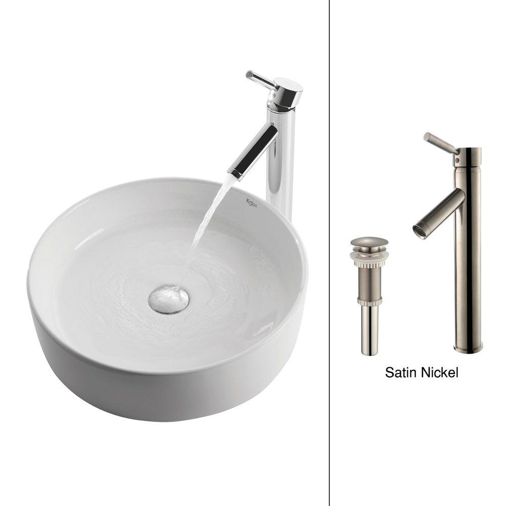 Round Ceramic Vessel Sink in White with Sheven Faucet in Satin