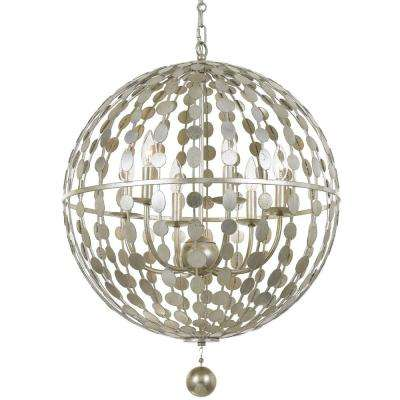 Layla 6-Light Antique Silver Chandelier