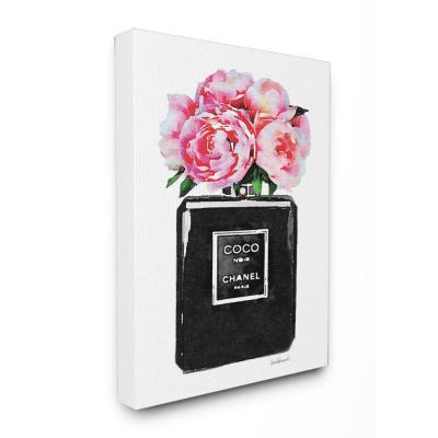 "16 in. x 20 in. ""Glam Perfume Bottle Flower Black Peony Pink"" by Amanda Greenwood Printed Canvas Wall Art"