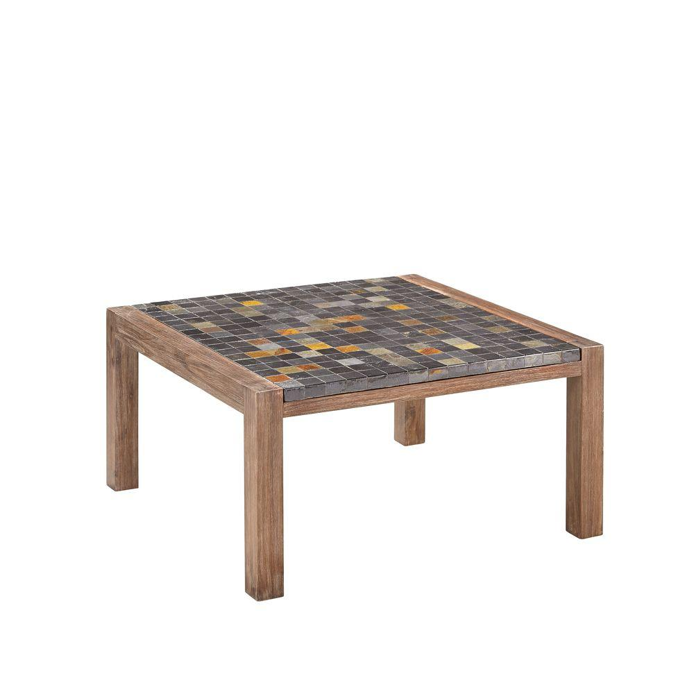 Home Styles Morocco Indoor/Outdoor Patio Coffee Table with Slate Top ...