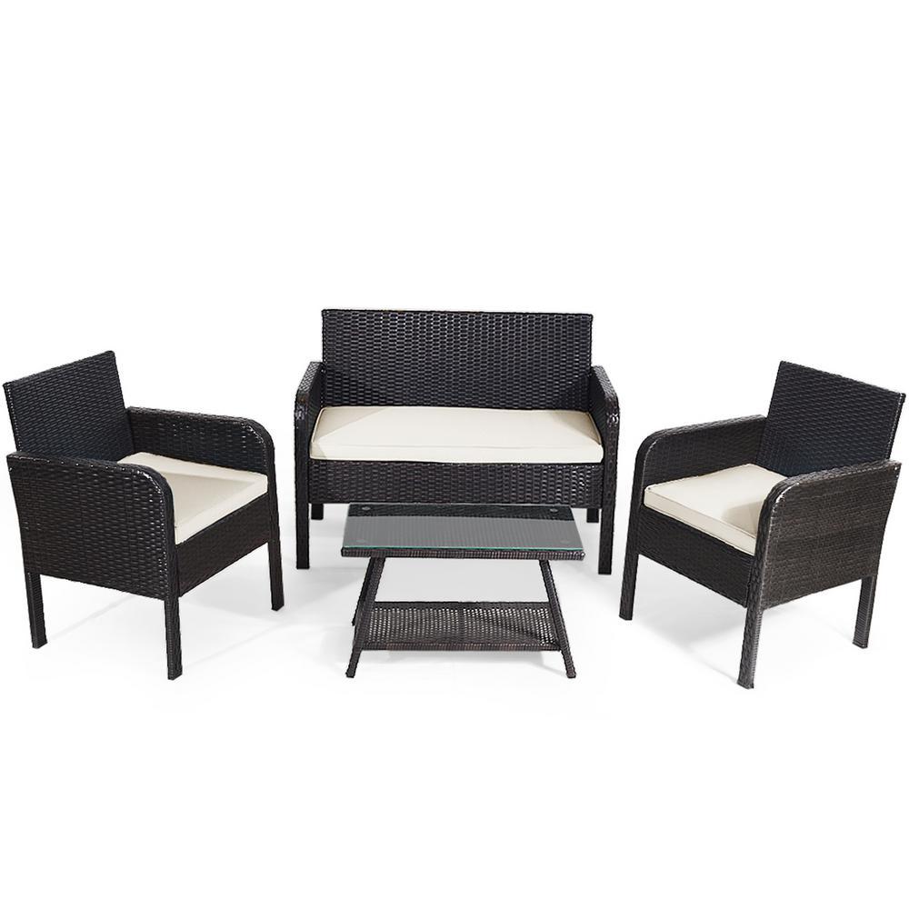 4-Piece Outdoor Rattan Furniture Set Patio Conversation Set with White Cushion