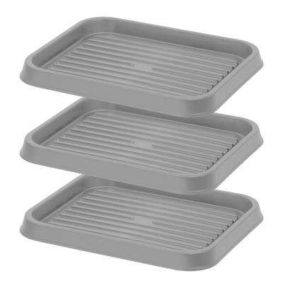 2-Pair Shoe Organizer Tray in Gray (3-Pack)