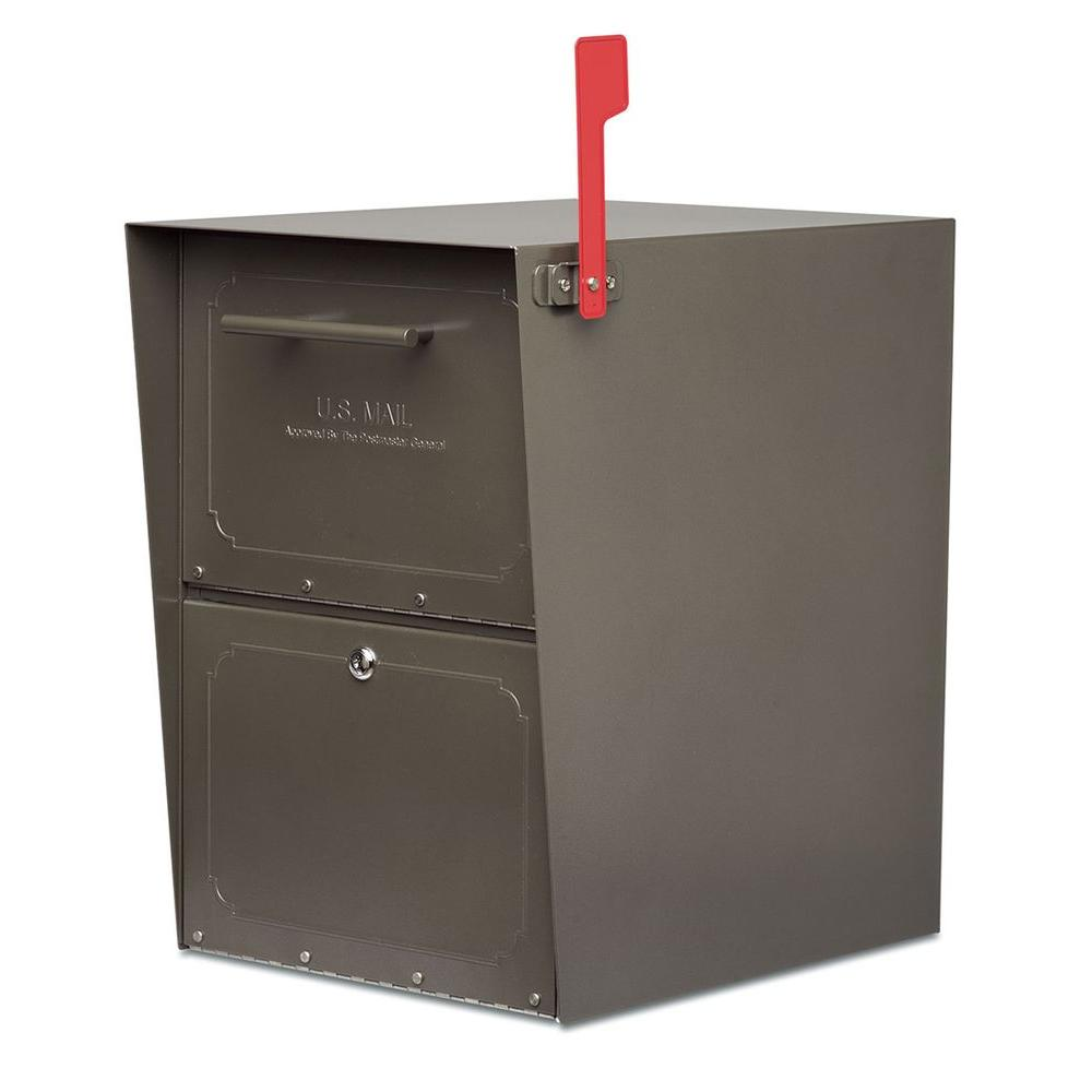 architectural mailboxes oasis postmount or columnmount locking mailbox in graphite bronze with outgoing mail indicator5100z the home depot mailbox mail indicator i47 mail