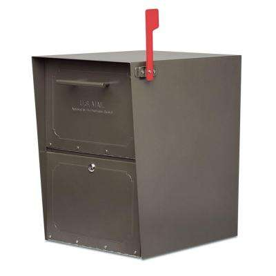 Oasis Post-Mount or Column-Mount Locking Mailbox in Graphite Bronze with Outgoing Mail Indicator