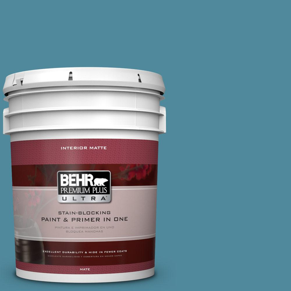 BEHR Premium Plus Ultra 5 gal. #S460-5 Blue Square Matte Interior Paint