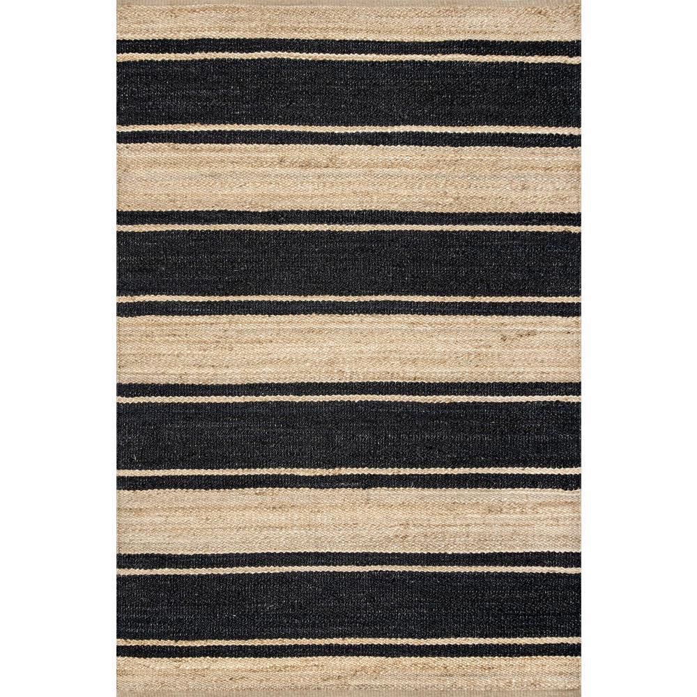 Marilyn Bold Stripe Jute Black 5 ft. x 8 ft. Area Rug
