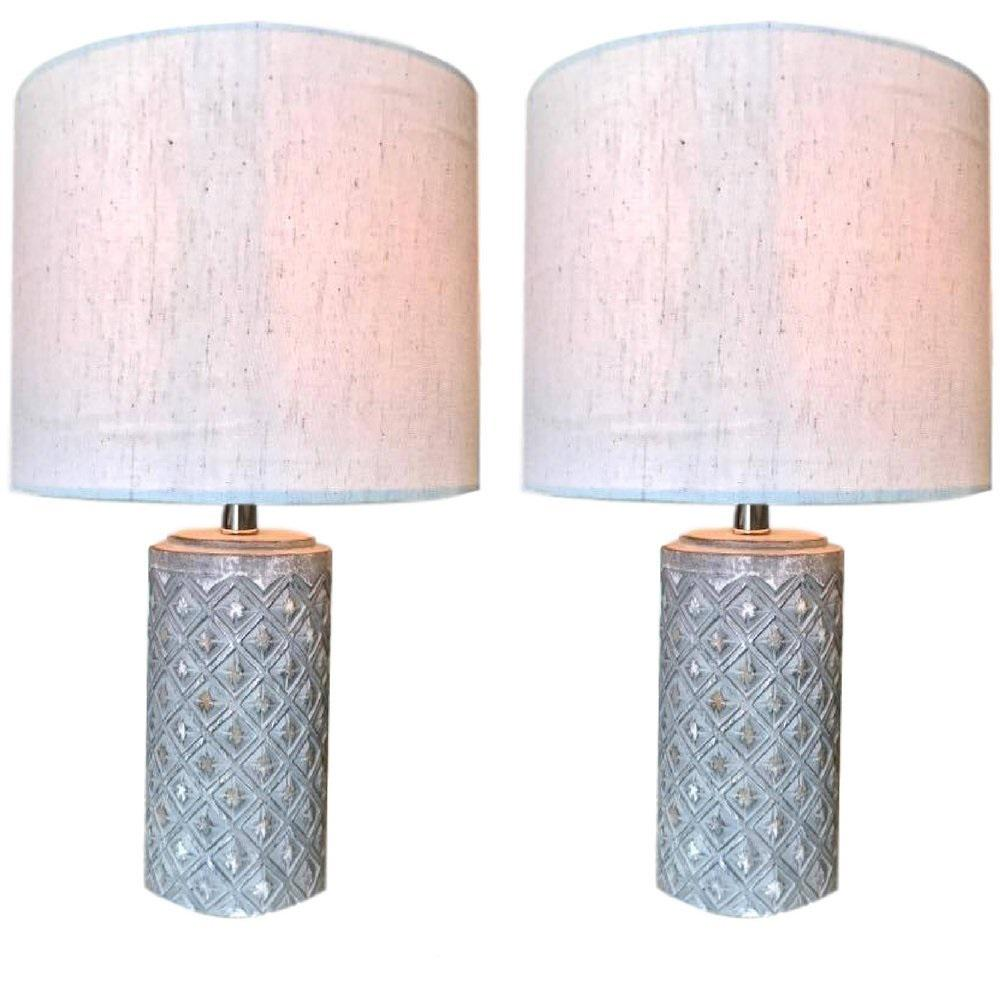 Kauri Design 16 In Grey Boho Table Lamp With Round Linen Shade Set Of 2