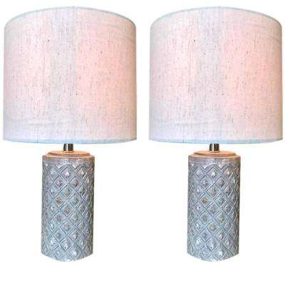 16 in. Grey Boho Table Lamp with Round Linen Shade (Set of 2)