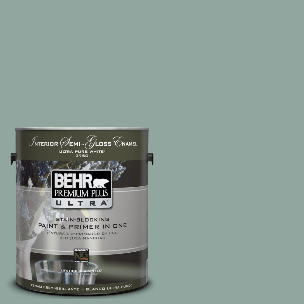 BEHR Premium Plus Ultra 1-gal. #UL220-16 Lotus Leaf Interior Semi-Gloss Enamel Paint