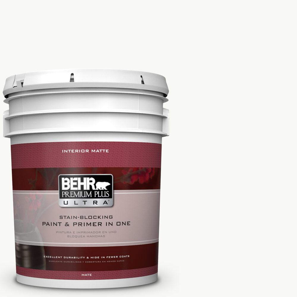 5 gal. #PR-W15 Ultra Pure White Matte Interior Paint and Primer