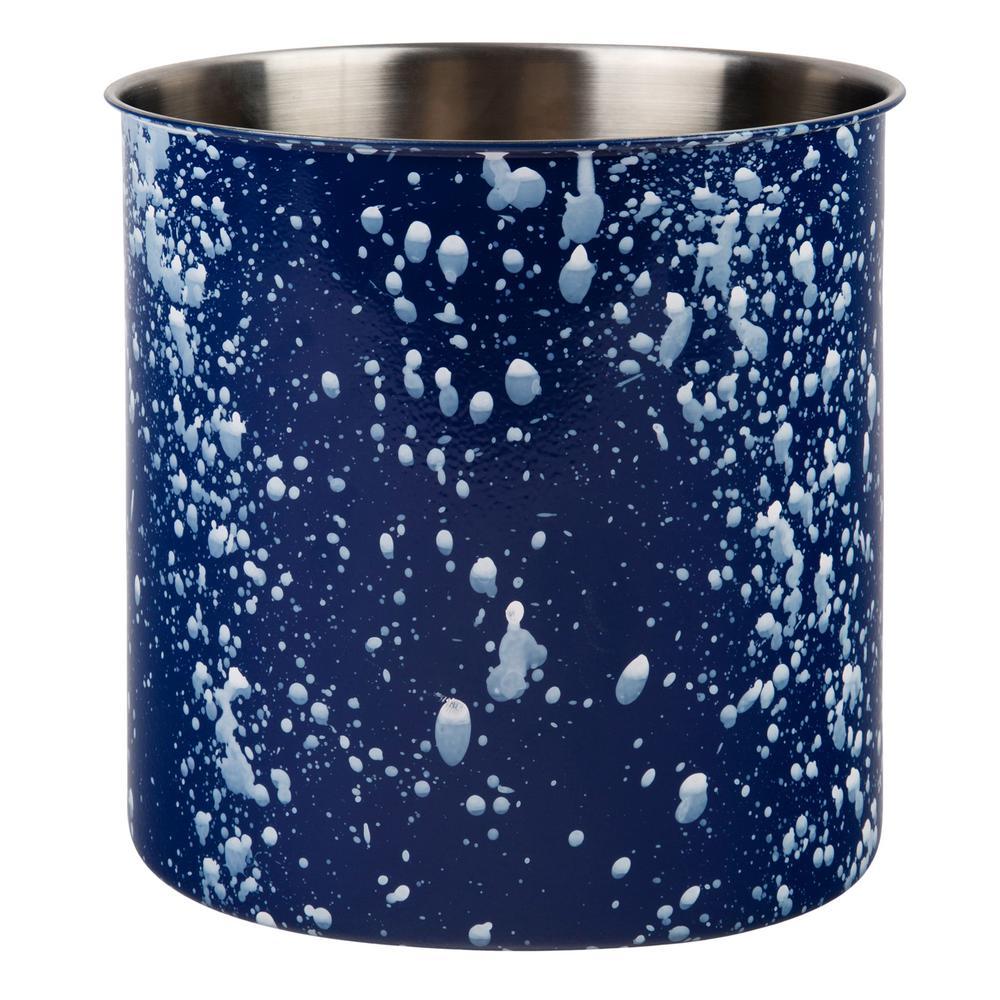 6.5 in. Blue Speckled Stainless Steel Utensil Crock