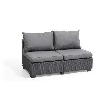 Sapporo Graphite Resin Outdoor Loveseat with Flanelle Cushions