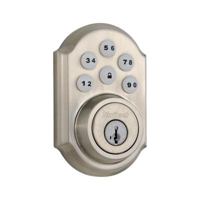 Z-Wave SmartCode 910 Satin Nickel Single Cylinder Electronic Deadbolt Featuring SmartKey Security
