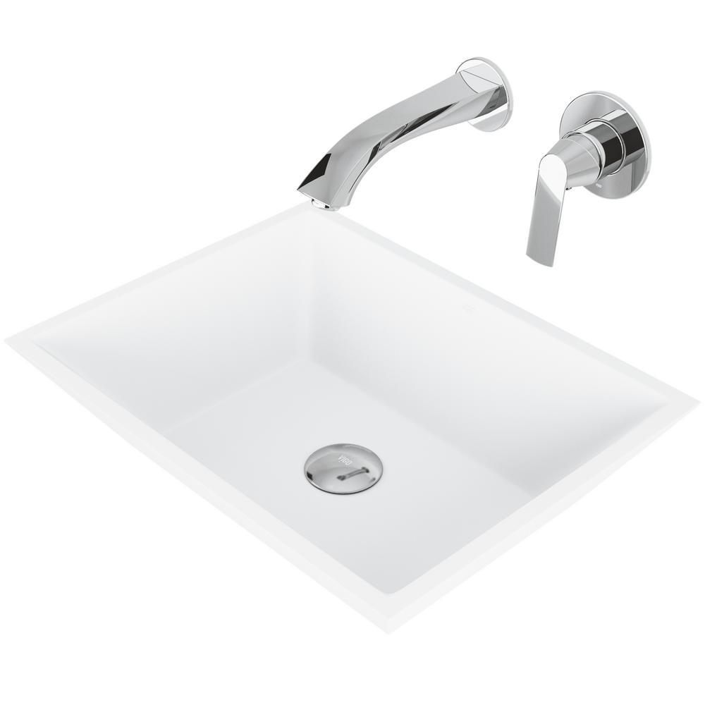 Vinca Matte Stone Vessel Bathroom Sink Set with Aldous Wall Mount Faucet in Chrome