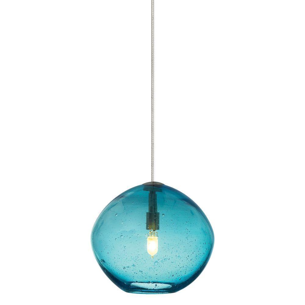 LBL Lighting Mini Isla 1-Light Satin Nickel Aqua Xenon
