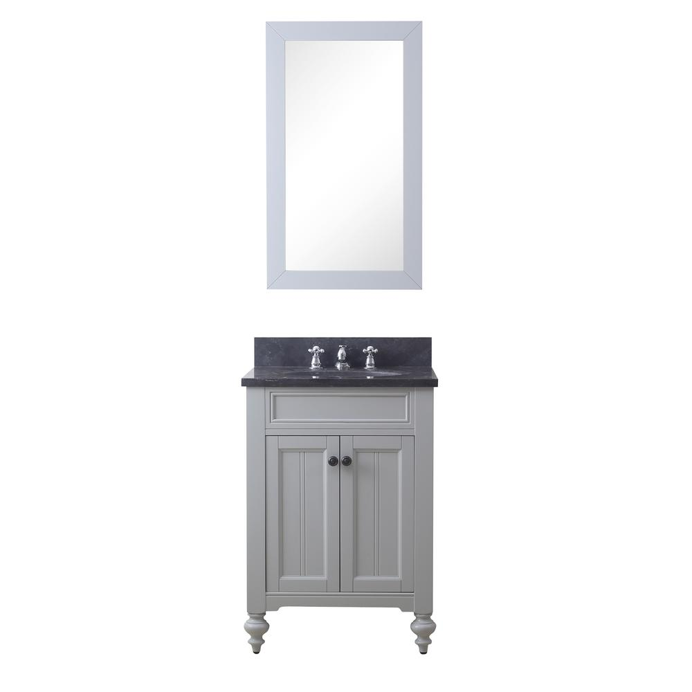 Water Creation Potenza 24 in. W x 33 in. H Vanity in Earl Grey with Granite Vanity Top in Blue Limestone with Basin, Mirror and Faucet