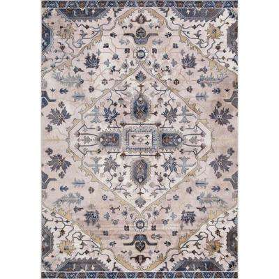 Olympus Medallion Ivory Rectangle Indoor 9 ft. x 12 ft. Area Rug