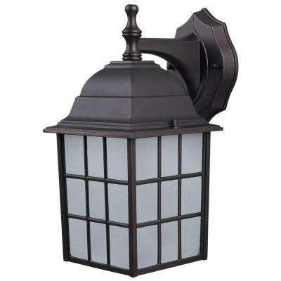 Colton 1-Light Bronze Outdoor Wall Lantern with Frosted Glass