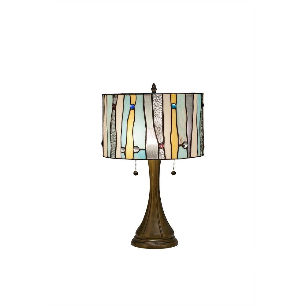 Tiffany Contemporary 22 in. Blue Bronze Table Lamp