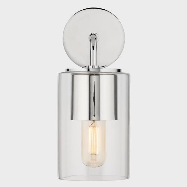 Luca 1-Light Polished Nickel Wall Sconce with Clear Glass