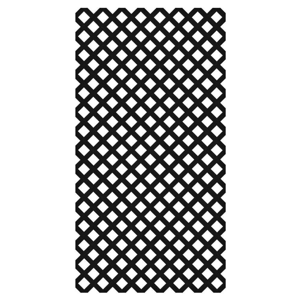0.2 in. x 48 in. x 8 ft. Black Vinyl Classic Diamond Lattice