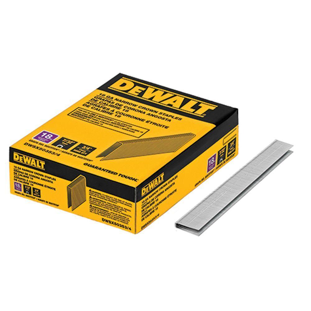 DEWALT 7//32 inch Narrow Crown Staple Gun Stapler 5000 Pack Staples 18 Gauge Tool