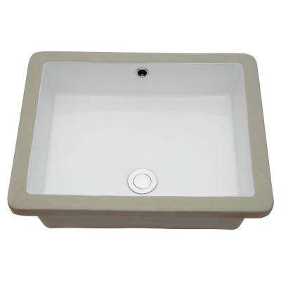 20 in. Undermount Bathroom Vessel Sink Rectangle Modern Porcelain Ceramic Lavatory Vanity Bathroom Sink in Pure White