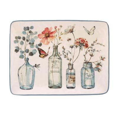 Country Weekend Multi-Colored 16 in. x 12 in. Ceramic Rectangular Platter