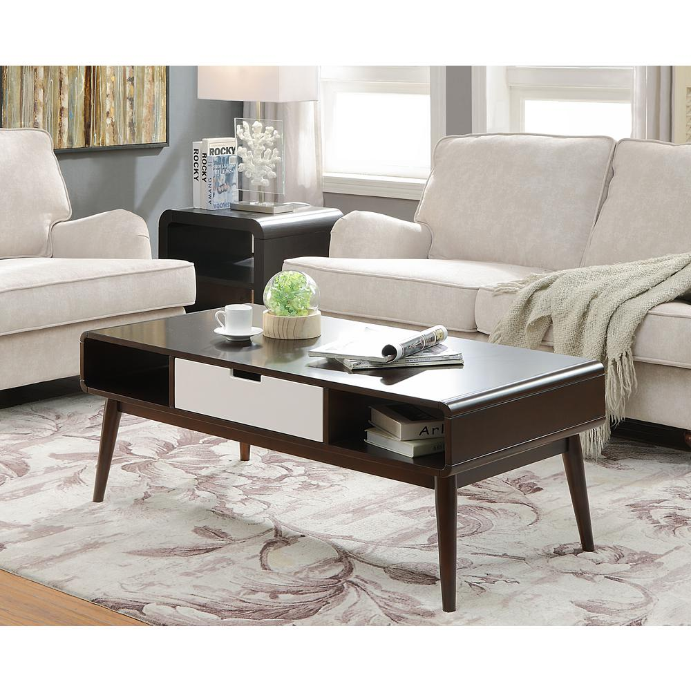 Acme Furniture Christa White and Walnut Storage Coffee Table