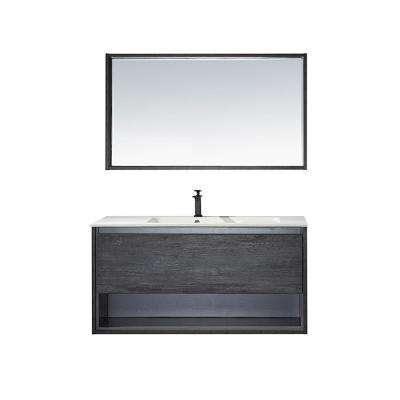 Perma 48 in. W x 21 in. D Bath Vanity in Elegant Grey with Vanity Top in White with White Acrylic Basin and Mirror