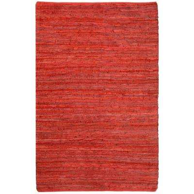 Red Leather 30 in. x 50 in. Accent Rug