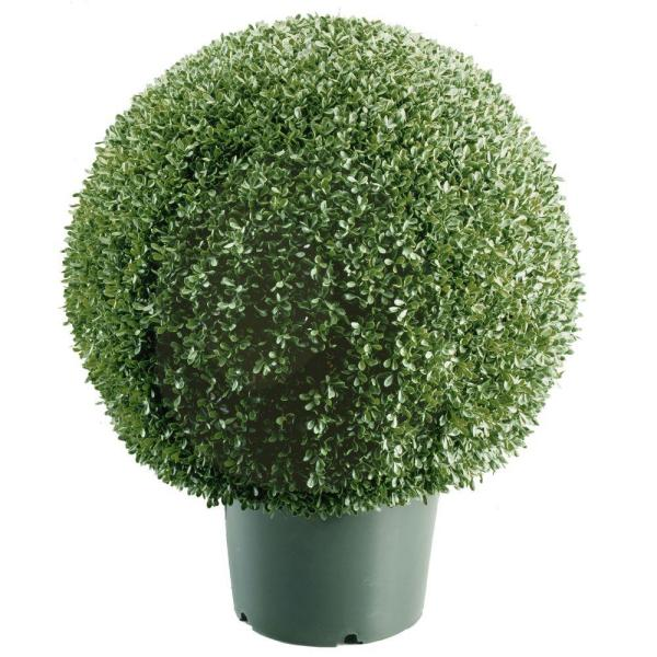 22 in. Mini Boxwood Ball Shaped Artificial Topiary Tree in 9 in. Round Green Growers Pot
