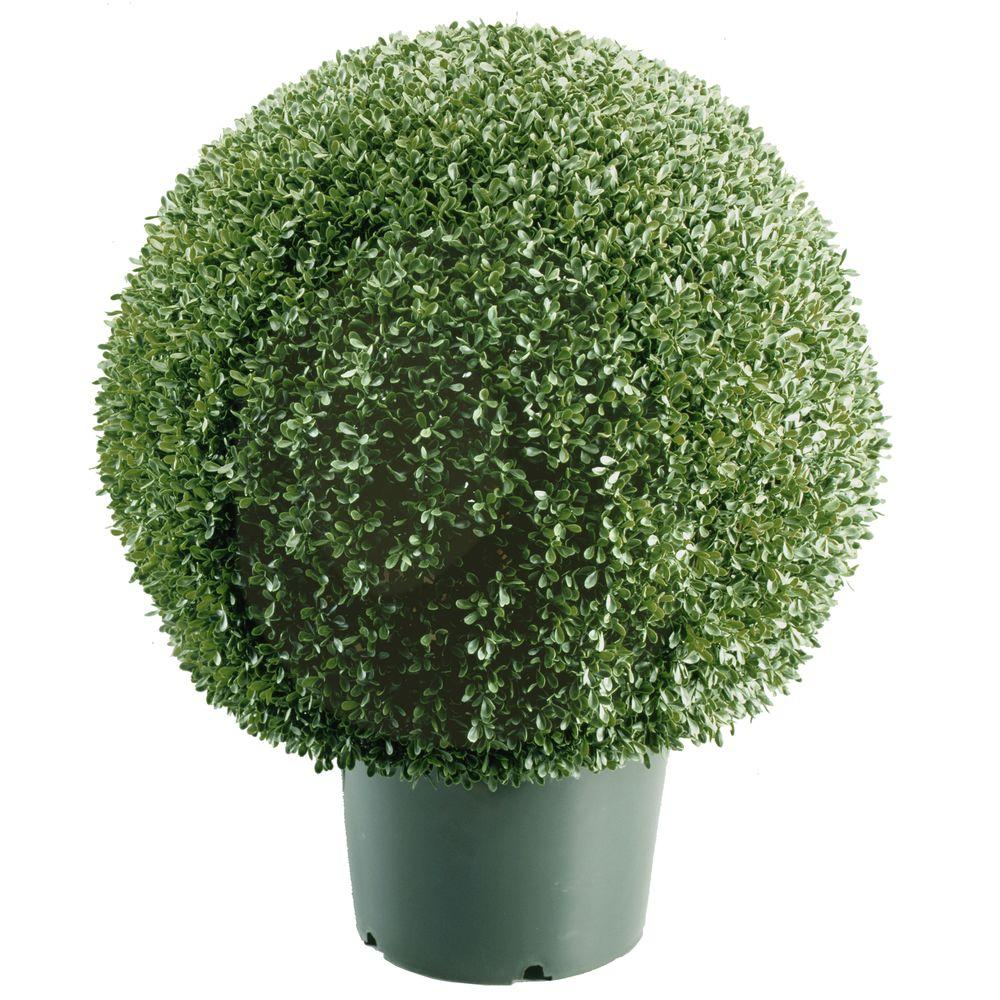 Artificial foliage topiaries outdoor decor the home depot mini boxwood ball shaped artificial topiary tree in 9 in round green aloadofball Choice Image