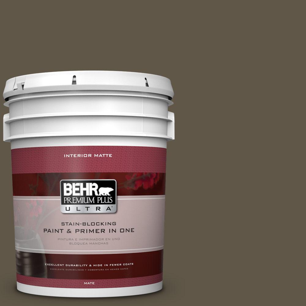 BEHR Premium Plus Ultra 5 gal. #720D-7 Winter Oak Flat/Matte Interior Paint