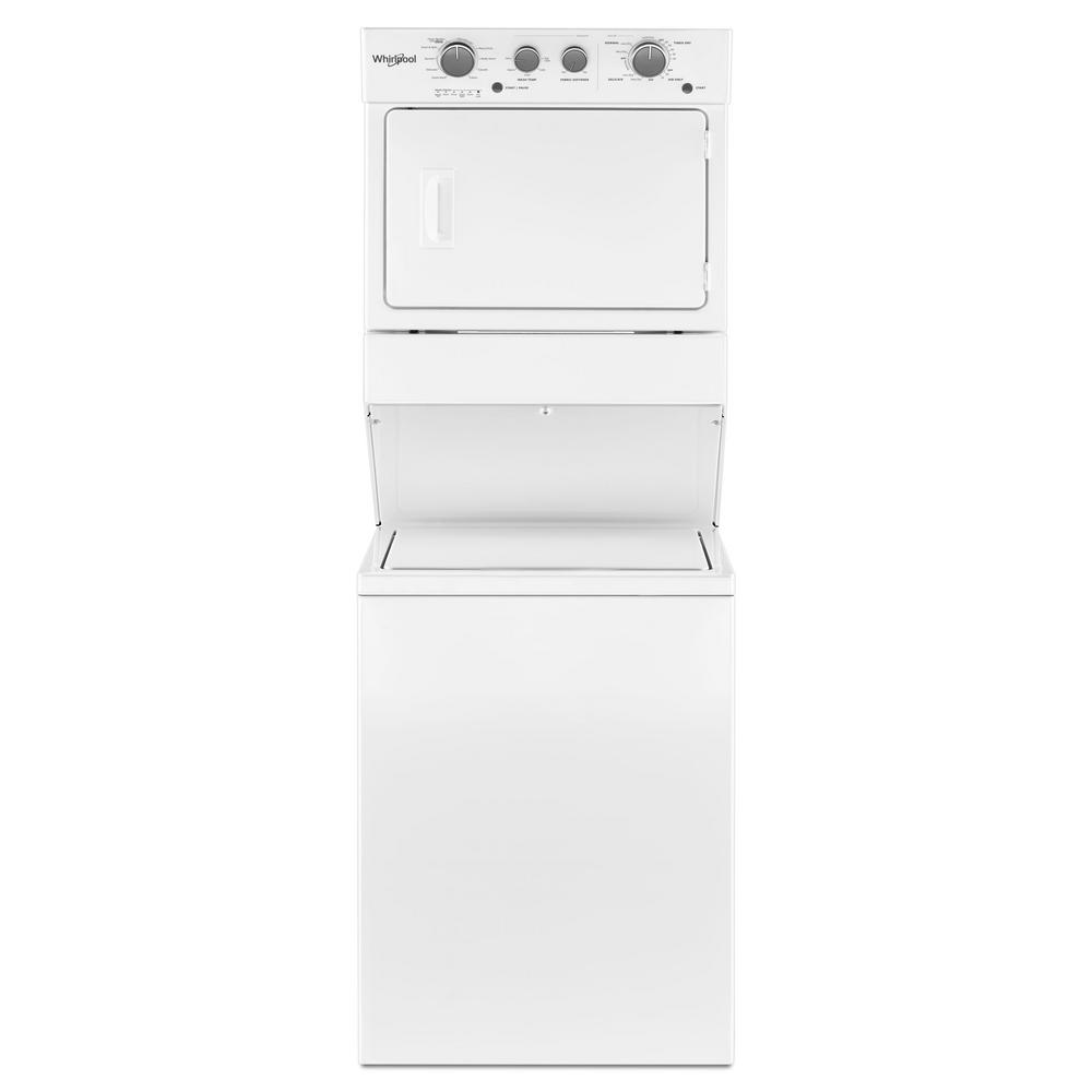 Whirlpool 3.5 cu. ft. Stacked Washer and Gas Dryer with 9-Wash Cycles and Wrinkle Shield in White Ideal for apartment or condominium living, a gas stacked washer and dryer combination with a long vent offers great washing and drying performance even when installation requires a long vent system. Get the space you need to easily wash everyday loads with a 3.5 cu. ft. capacity washer and a 5.9 cu. ft. capacity dryer. The washer with fabric softener dispenser releases fabric softener at just the right time and the dryer automatically senses when clothes are ready and stops the cycle. Color: White.
