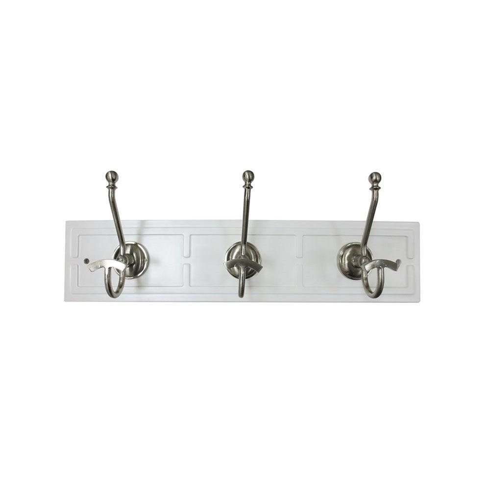 22 in. Decorative 3-Hook Rack in White/Satin Nickel