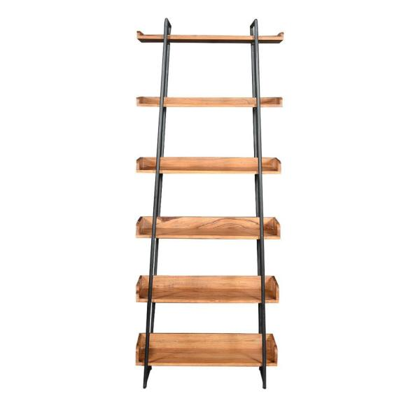 29 in. H Brown and Black Wooden 6-Shelf Ladder Storage Bookcase with Metal Frame