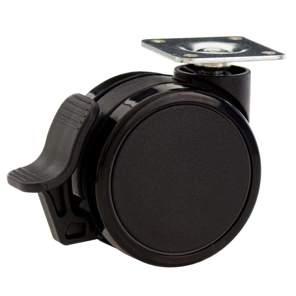 2-9/16 in. Rubber PU Furniture Swivel Plate Caster with Brake Black