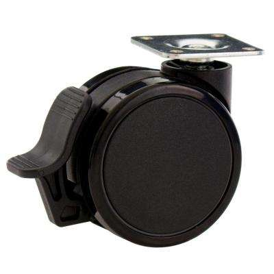 2-9/16 in. Rubber PU Furniture Swivel Plate Caster with Brake Black (4-Pack)