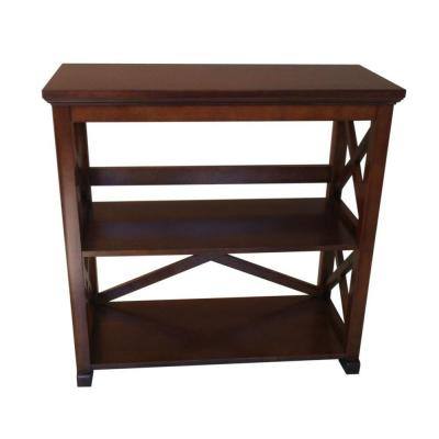 30.47 in. Warm Chestnut Wood 3-shelf Etagere Bookcase with Open Back