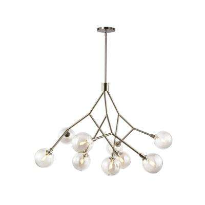 Sycamore 9-Light Satin Nickel Chandelier with Transparent Smoke Glass Shade and LED Bulbs