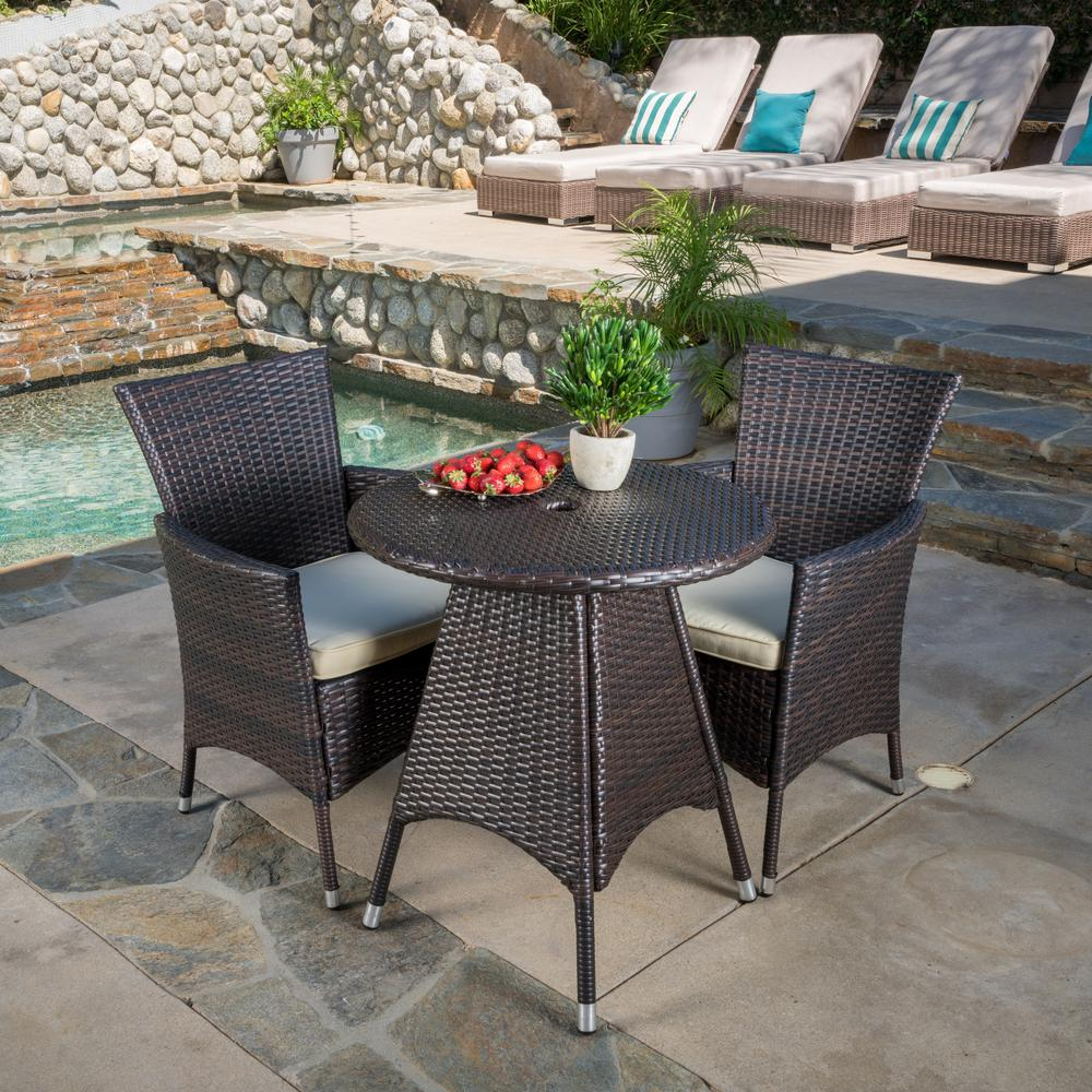 NobleHouse Noble House Melissa Multi-Brown 3-Piece Wicker Round Outdoor Bistro Set with Creme Cushions