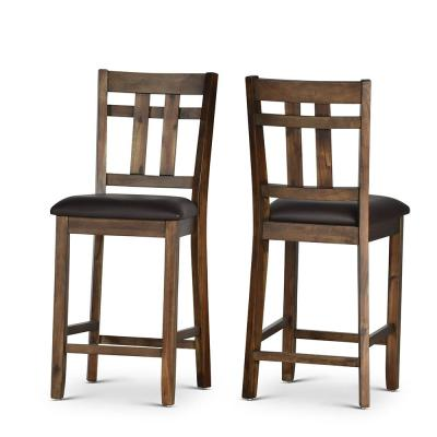 Saranac Brown Slat Back 24 in. Counter Chair (Set of 2)