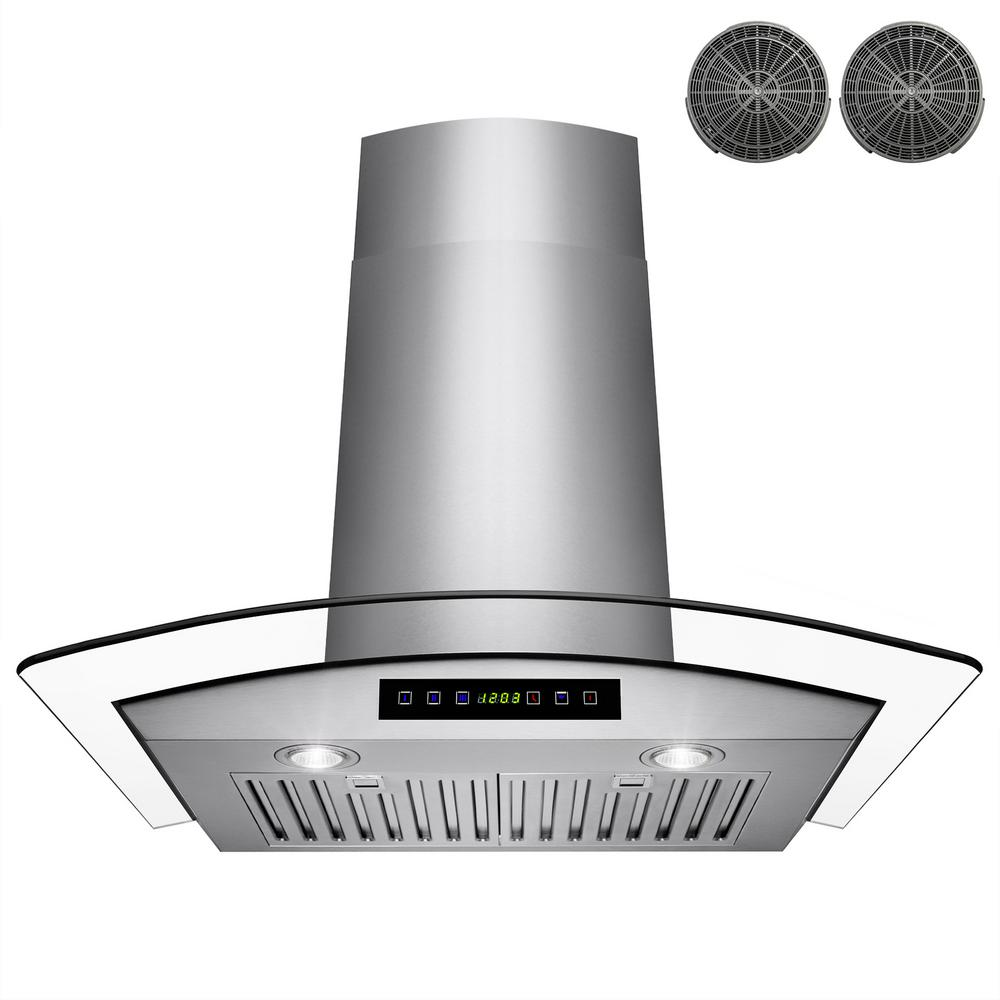 convertible wall mount range hood in stainless steel with tempered glass